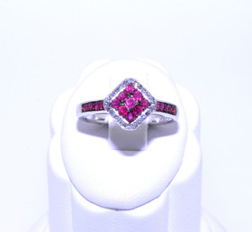 19000100 10K White Gold Ruby/Diamond Ring