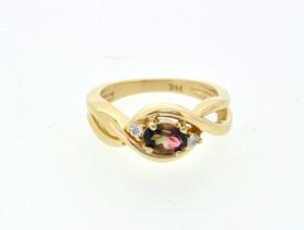 12001906 14K Yellow Gold Water Melon Tourmaline/Diamond Ring