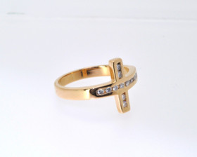 14K Yellow Gold Diamond Cross Ring  11003148