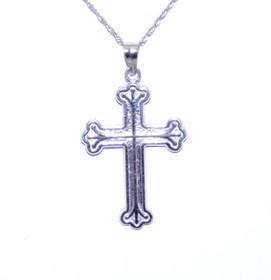 14K White Gold Cross Charm