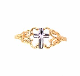 14K Yellow and White Gold Petite Filigree Cross Ring By Shin Brothers Jewelers Inc.