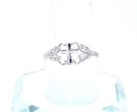 14K White Gold  Filigree Cross Ring By Shin Brothers Jewelers Inc.
