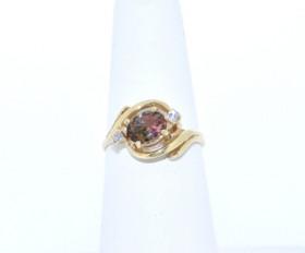 12001197 14K Yellow Gold Tourmaline Diamond Ring