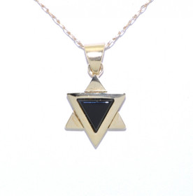 52001264 14K Yellow Gold Onyx Star of David Pendant