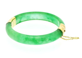 14K Yellow Gold Natural Jade Bangle