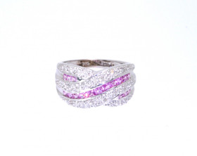 12001896 14K White Gold 0.16ct Pink Sapphire and 0.75ct Diamond Ring
