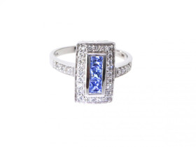 12001898 14K White Gold 0.51ct Tanzanite 0.31ct Diamond Ring