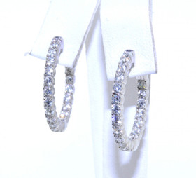"""84210021 Sterling Silver CZ 1"""" Hoop Earrings with Safety Lock"""