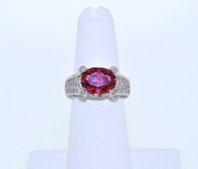 12001919 14K White GOld Fancy 3.25ct Tourmaline 1.35ct Diamond Ring