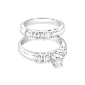 14K White Gold 1.15ct Diamond Engagement Ring and Wedding Band Set
