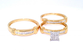 14K Yellow Gold 0.83ct Diamond His/Hers Wedding Band Set