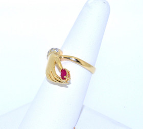12001921 14K Yellow Gold Diamond Ruby Hand Ring