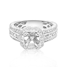 14K White Gold 0.49 ct Diamond Engagement Ring Setting