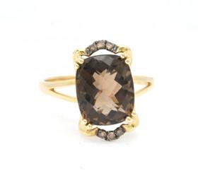 12001932 14K Yellow Gold 3.01ct Smoky Topaz 0.07ct Brown Diamond Ring