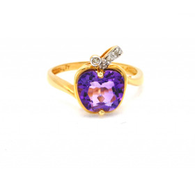 12001931 14K Yellow Gold 2.19ct Amethyst 0.02ct Diamond Apple Ring