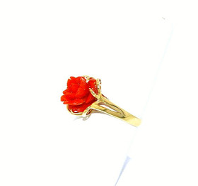14K Yellow Gold Coral Flower Ring