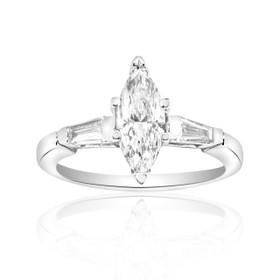 18K White Gold Diamond Engagement Ring GIA Certified