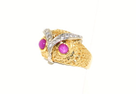 14K Two Tone Gold Diamond/Pink Sapphire Owl Ring