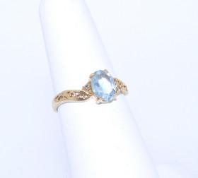 12001951 14K Yellow Gold Diamond/Blue Topaz Ring