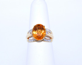 12001943 18K Yellow Gold Diamond/Citrine Ring
