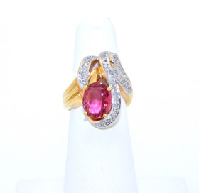 12001123 14K Yellow Gold Tourmaline Gem Stone Ring