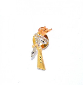 53000056 14k Tri Color Gold Olympic Torch Tie Tack
