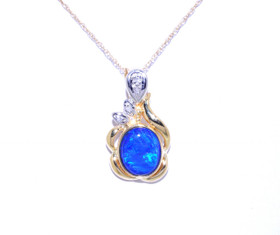 14K Yellow Gold duplex Opal Diamond Pendant 52001329