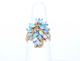 12000763 14K Yellow Gold Diamond/Opal Ring