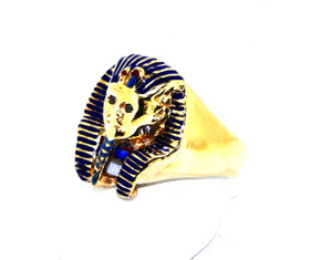14K Yellow Solid Gold King Tut Ring With Enamel 12001969