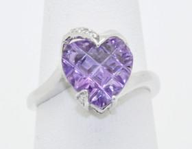 12001954 14K White Gold Diamond/Amethyst Ring