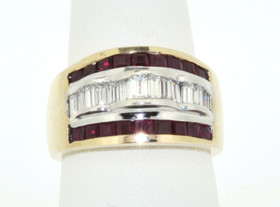 12000347 14K White Gold Ruby/Diamond Ring