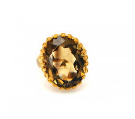 10K Yellow Gold Smokey Topaz Oval Shape Ring 19210019