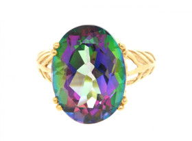 10K Yellow Gold Mystic Topaz Ring 19000115