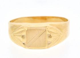 18K Yellow Gold Signet Ring 10016343