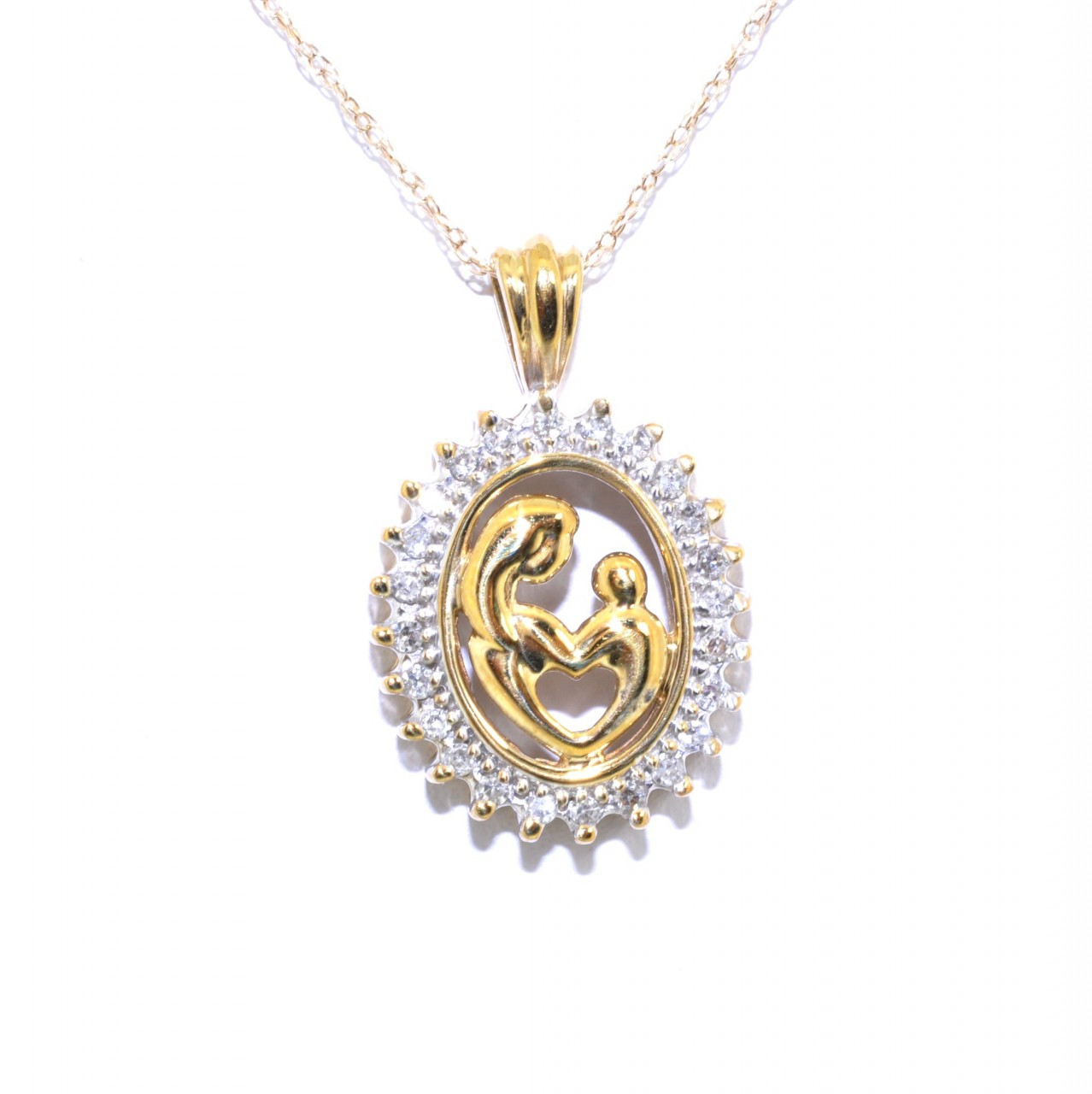687f6719d5304 59000089 10K Yellow Gold Diamond Mother and Child Charm