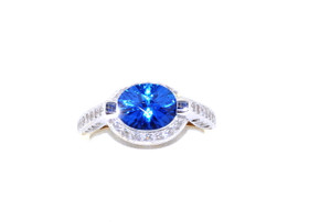 14K Two Tone Gold CZ and Blue Topaz Ring 12001928