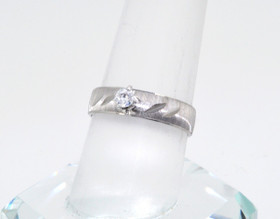 19000125 10K White Gold CZ Engagement Ring