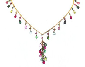 14k Yellow Gold Multi Color Tourmaline Necklace