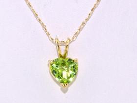 52001372 14K Yellow Gold Peridot Heart Charm