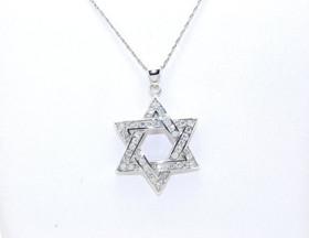 85010254 Sterling Silver Jewish CZ Star
