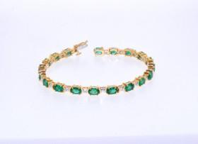 14K Yellow Gold Diamond/Emerald Bracelet  22000525