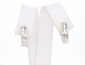 41000450 14K White Gold Diamond Huggies Earrings