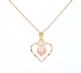 14K Two Tone Gold Heart Charm 50002516