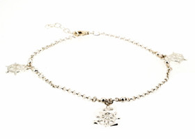 82010318 Sterling Silver Wheel/Anchor Anklet