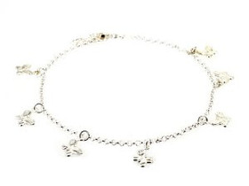 82010320 Sterling Silver Butterfly Anklet