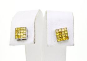 41060381 14K White Gold Yellow Diamond Earrings