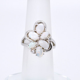 14K White Gold Opal and Diamond Ring 12001993