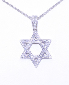 51001485 18K White Gold Diamond Star of David Charm