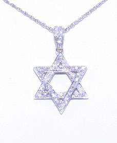 51001485 18K White Gold Diamond Star of David Charm