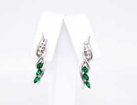 14K White Gold Emerald/Diamond Earrings 42001850 By Shin Brothers Jewelers Inc